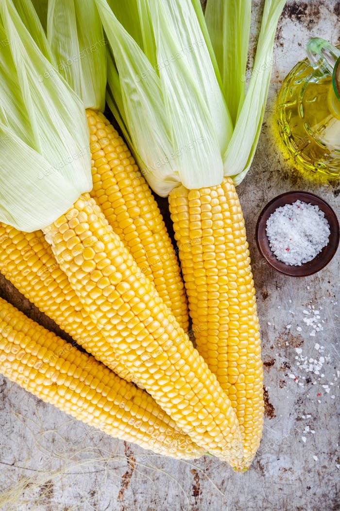 fresh raw organic sweet corn cobs