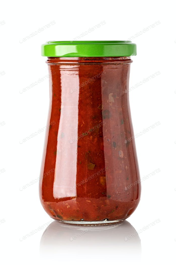 Tomato sauce jar on white background