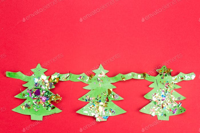 Christmas background with cute fir tree artwork.