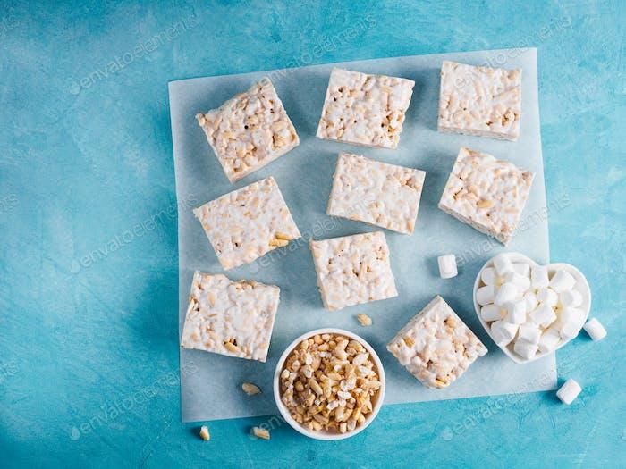 Homemade bars of Marshmallow and crispy rice