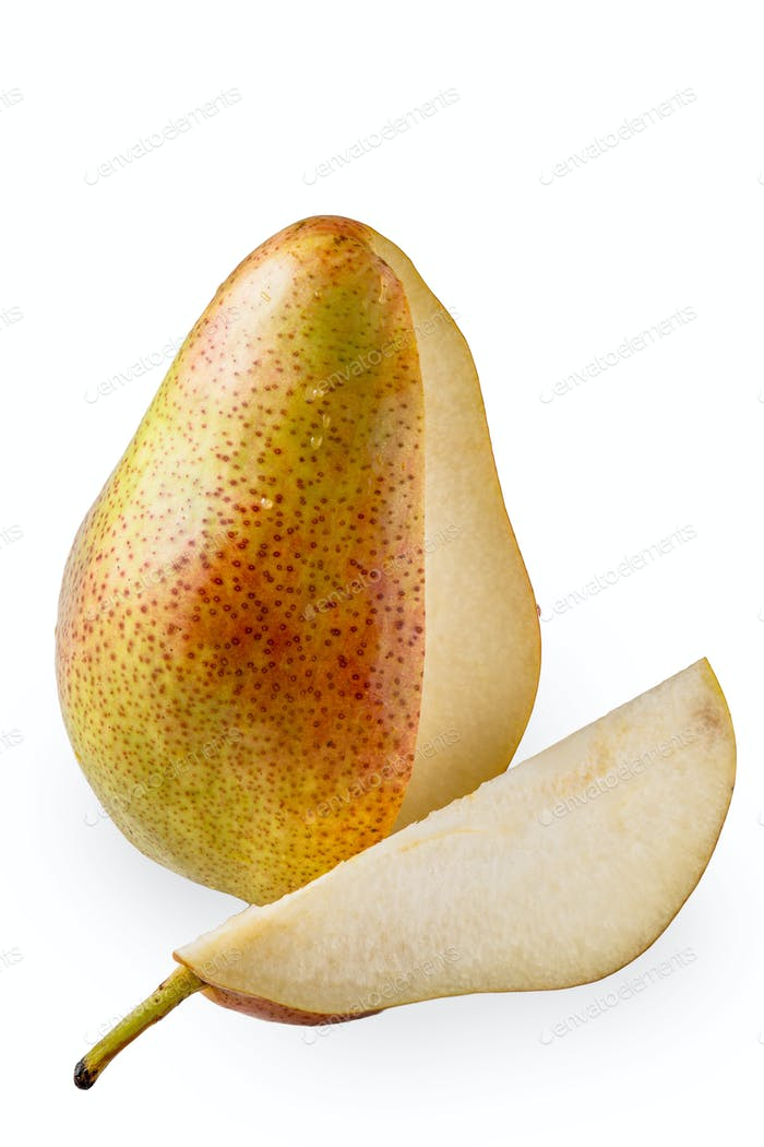 Sliced pear on the white background vertical