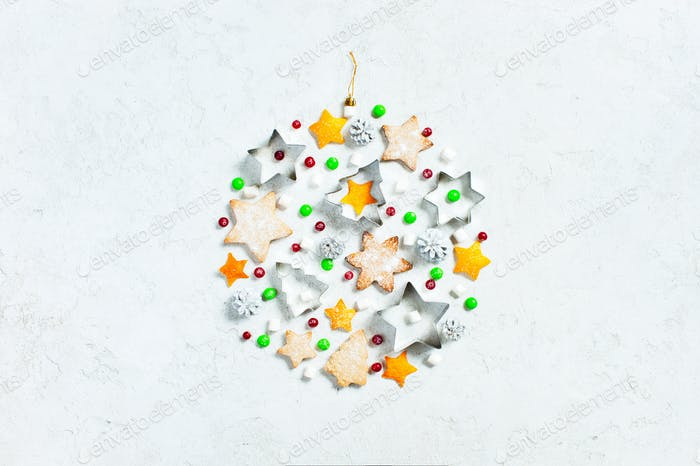 Christmas Ball of Sweets on White Textured Background