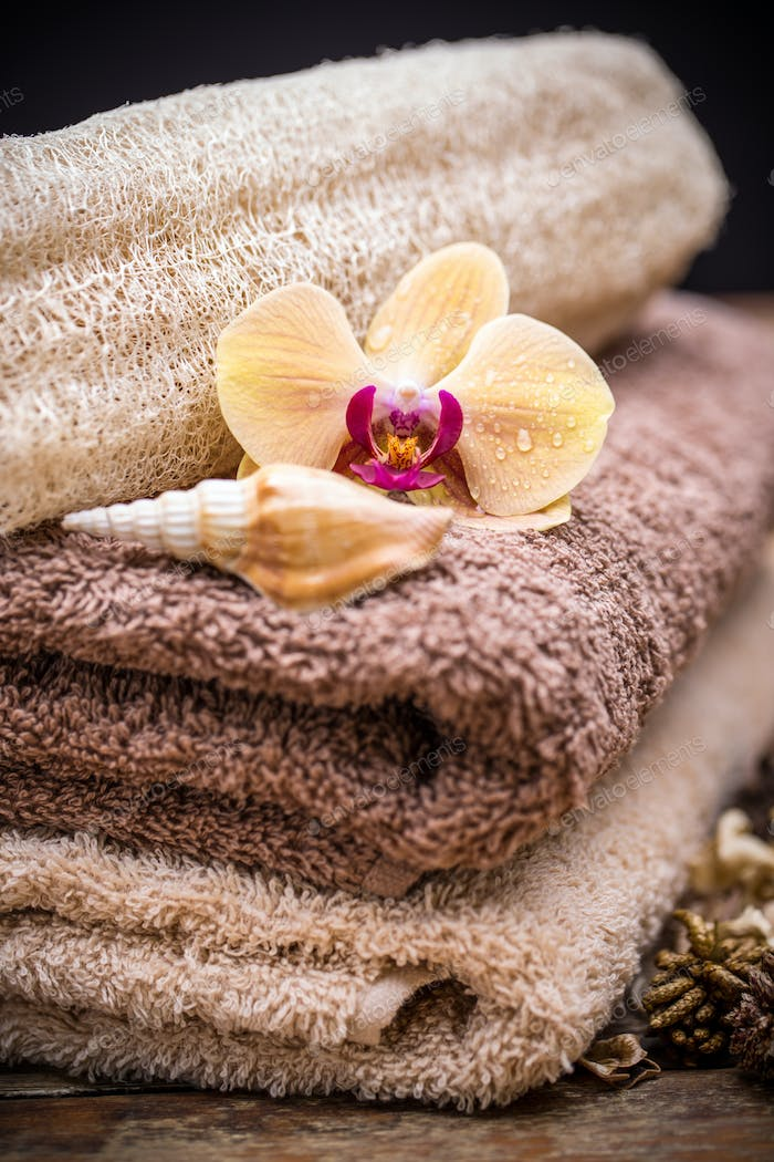 Towels with orchid