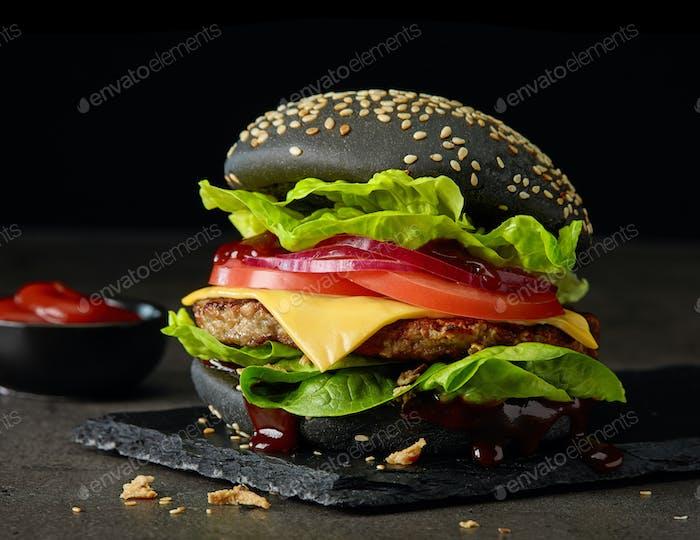 fresh tasty black burger