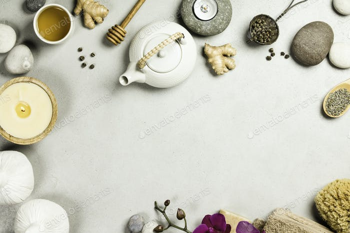 Natural SPA concept on grey concrete background