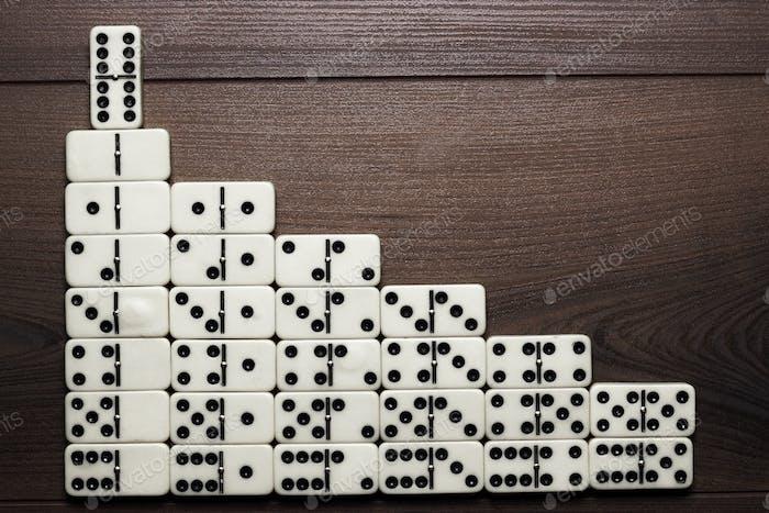 Führungskonzept Domino Stücke bilden Treppen