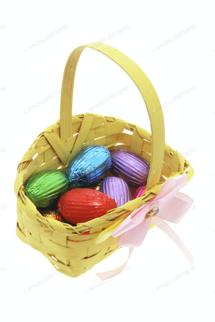Easter Eggs in Bamboo Basket