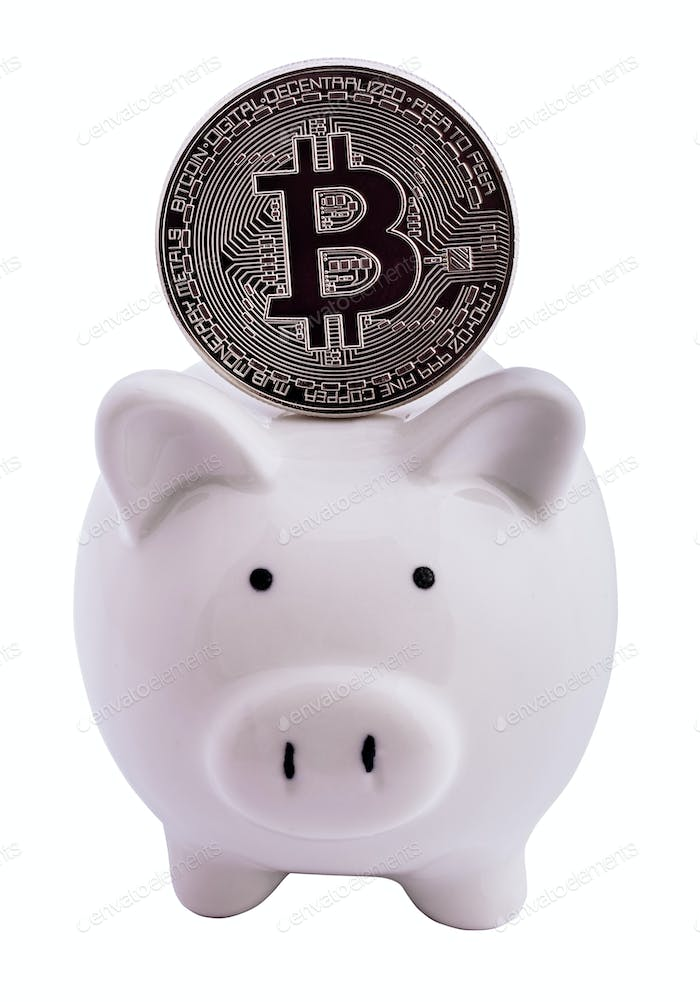 Bitcoin and piggy bank