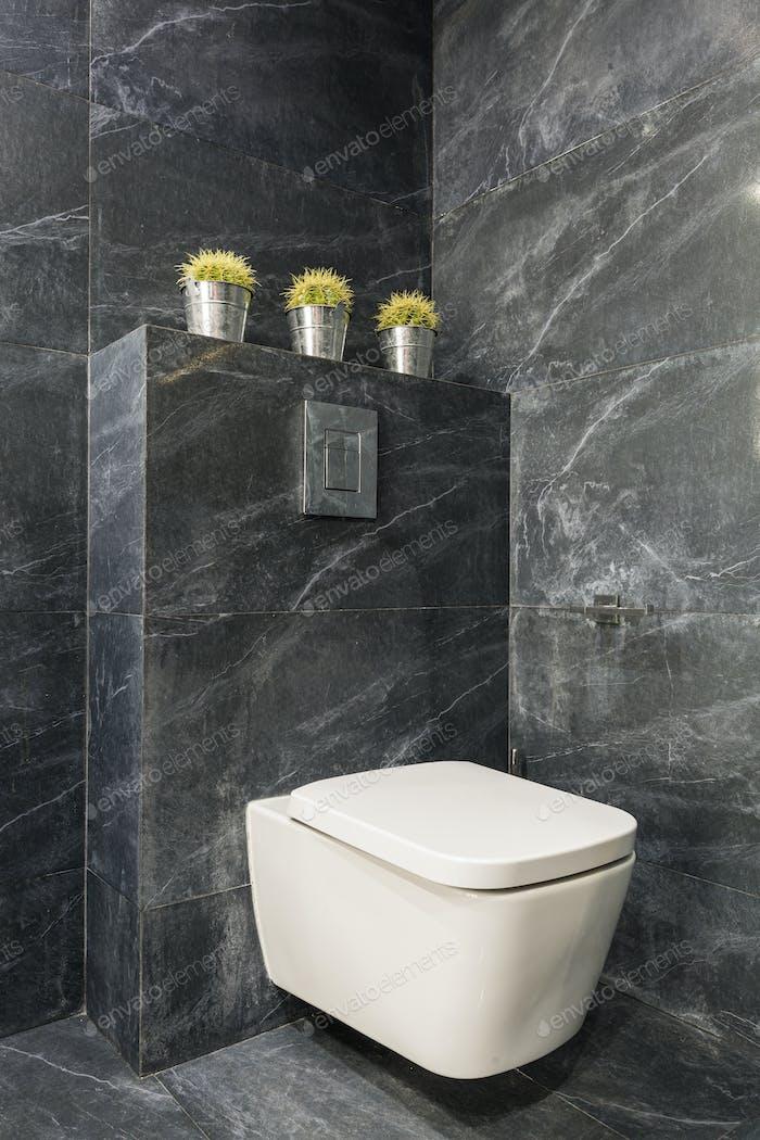 Modern grey bathroom with white toilet