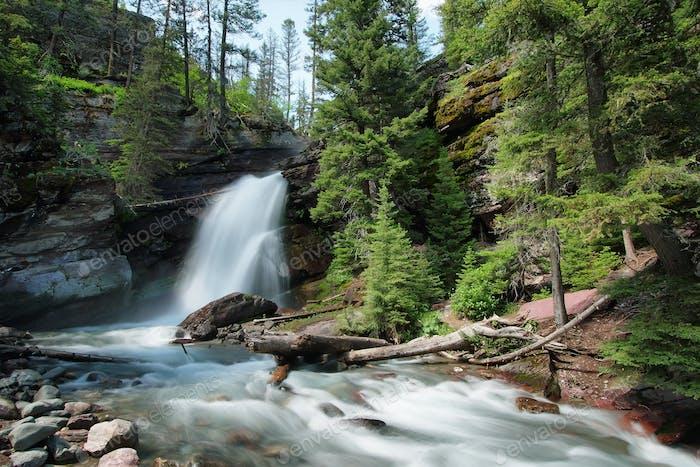 Baring Falls in Glacier National Park