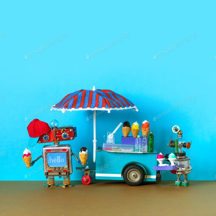 Mobile ice cream cart, miniature toy shop business.