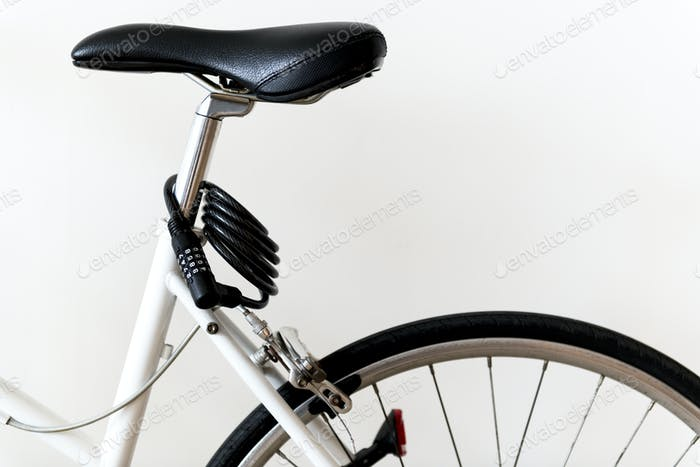 Closeup of mountain bike isolated on white background