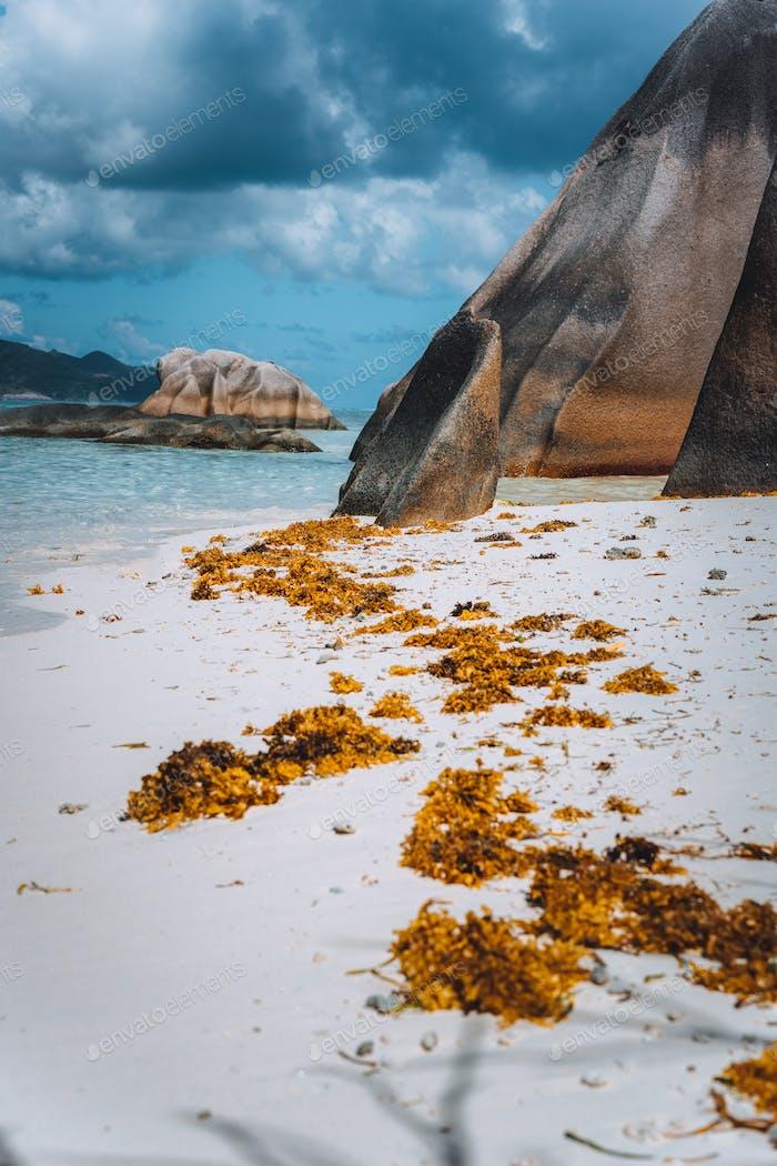 Huge unique granite boulders at Anse Source D'Argent beach, La Digue, Seychelles