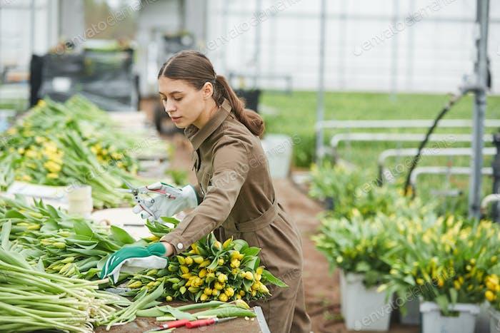 Trabajadora femenina clasificando flores