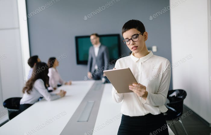 Professional business people working in business office