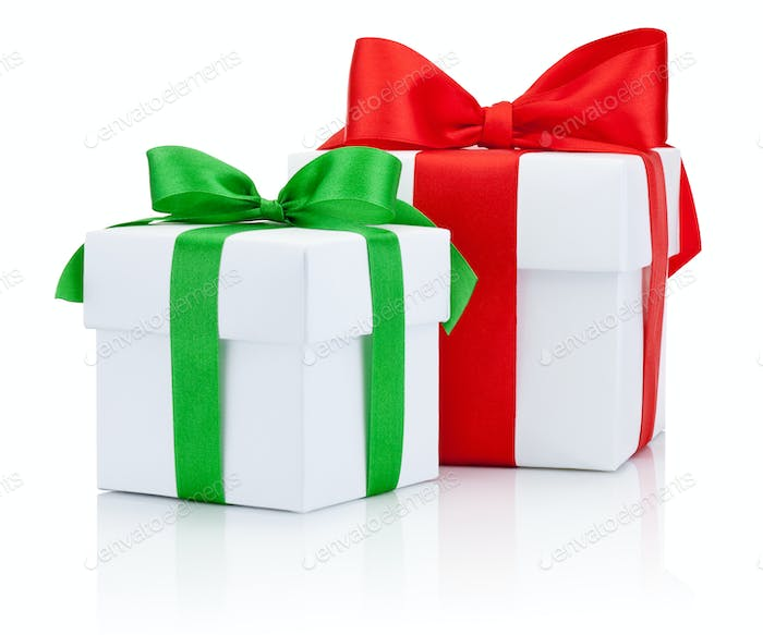 Two White boxs tied red and green ribbons bow Isolated on white