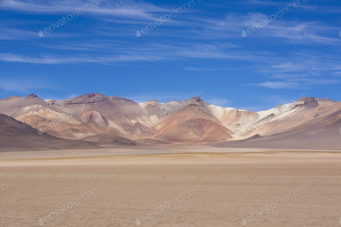Atacama Mountain with blue sky in Eduardo Avaroa Park