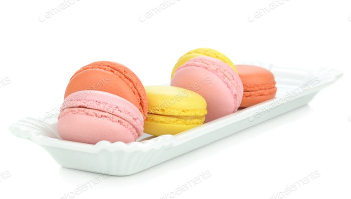 Macaroon Biscuits on a Plate