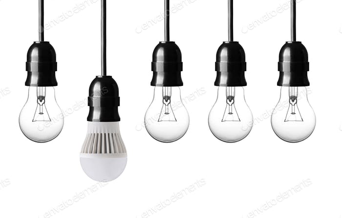 idea concept with bulbs on white background