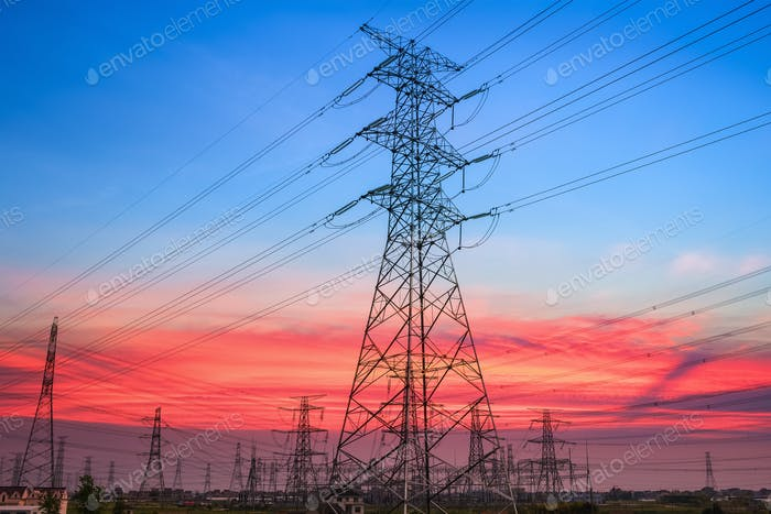 electricity pylon in sunset