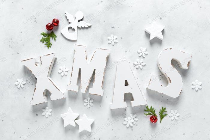 Weihnachts-, Neujahrs- oder Noelfeier-Winter-Grußkarte mit Dekorationen