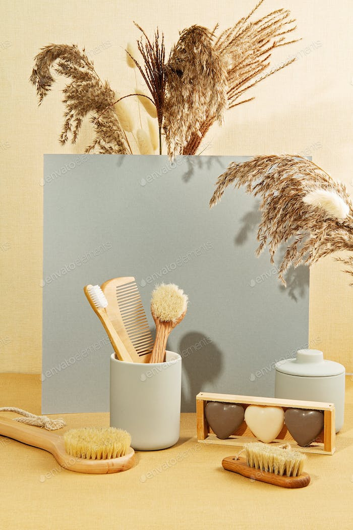 Background with autumn plants and zero waste bathroom utils in pastel colors