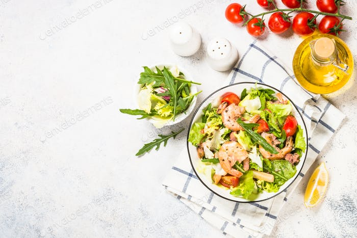 Seafood salad with leaves and vegetables