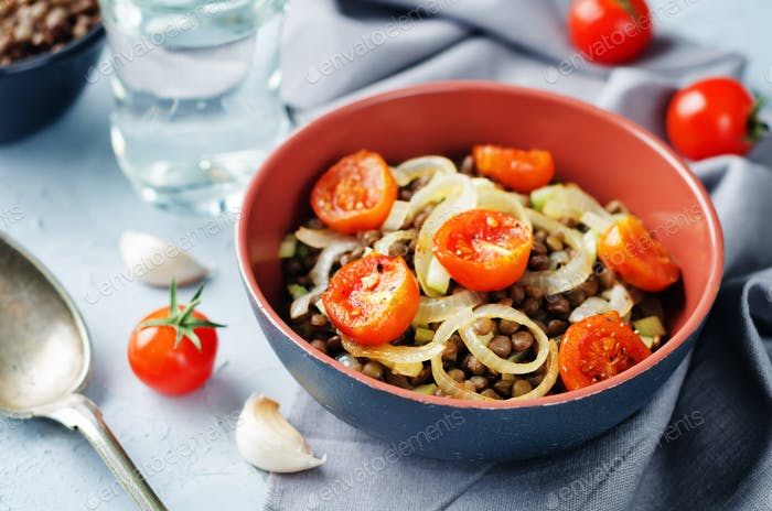 Green Lentil roasted onion and tomato salad