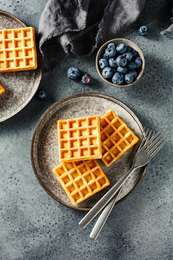 Belgian waffles with honey fresh blueberries