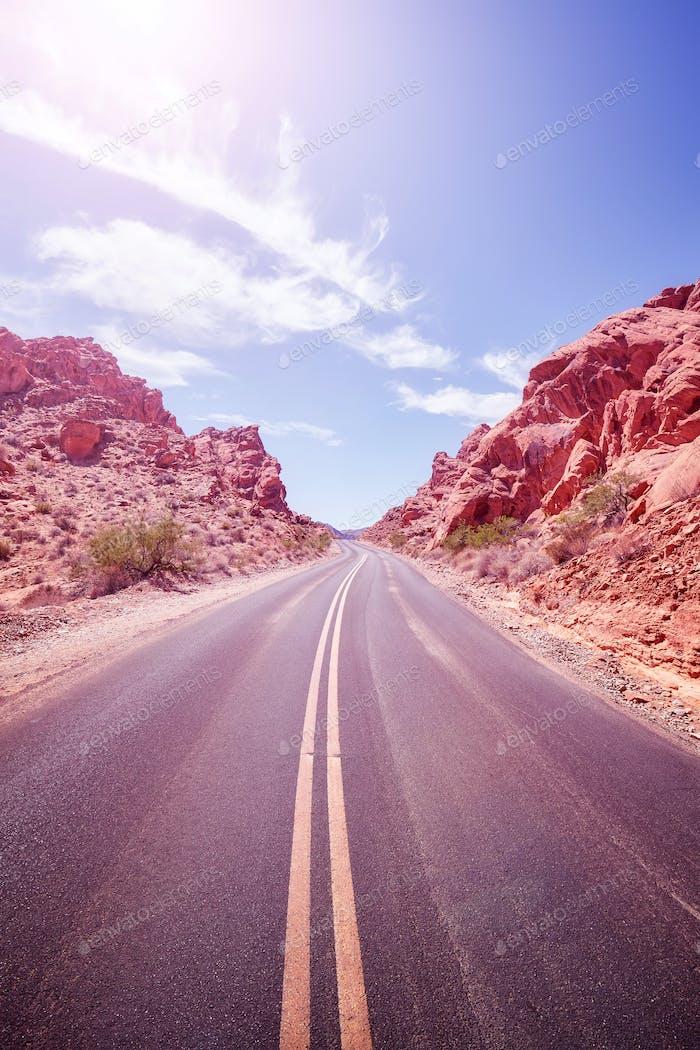 Desert road, travel adventure concept.