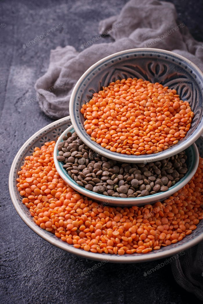 Bowls with red and black lentils