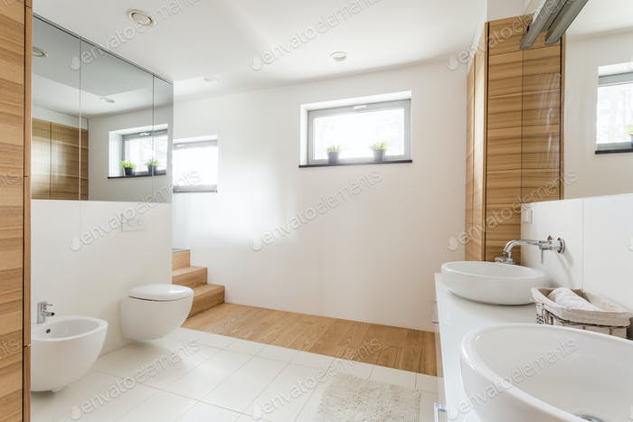 Bathroom with toilet and wide mirrors