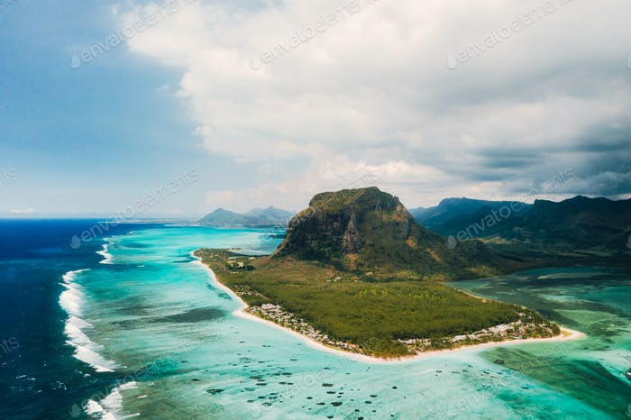 A bird's-eye view of Le Morne Brabant. Coral reef of the island of Mauritius.