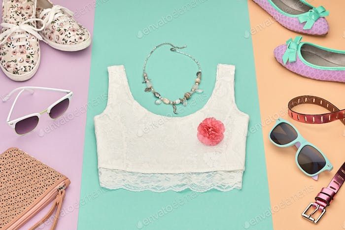 Fashion Hipster girl clothes Outfit. Spring Design