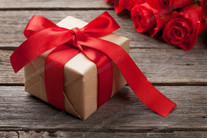 Valentines day greeting card with roses and gift