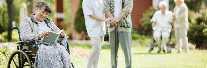 Sunny afternoon in the garden of nursing home for elderly