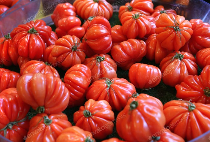 Big red tomatoes at the market