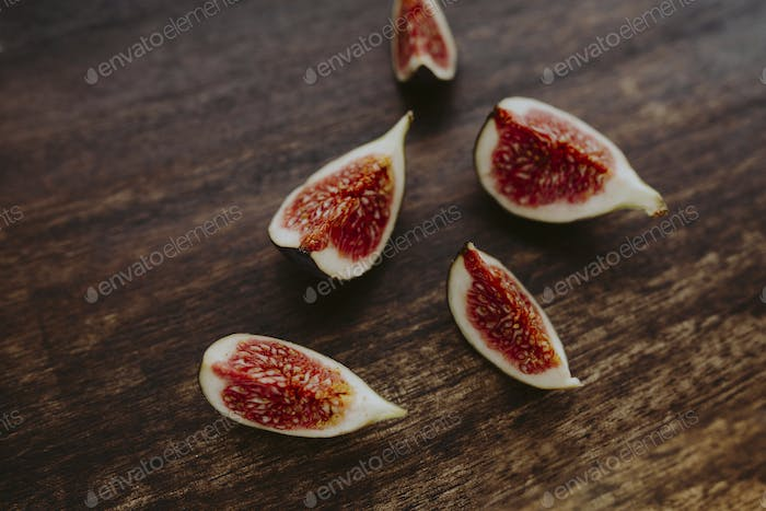 Fresh organic fig on a wooden table