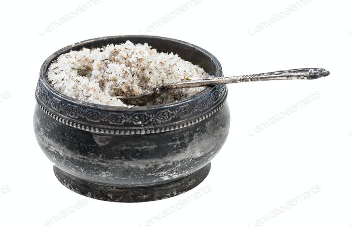 silver salt cellar with spoon with seasoned salt