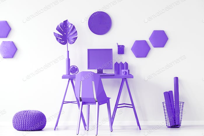 Purple workspace interior inspiration