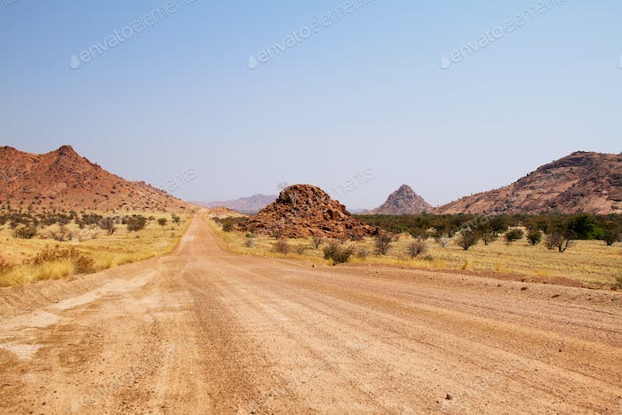 Landscape and road in Damaraland area