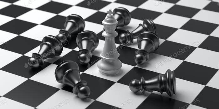 Chess king white color standing winner on checkerboard background. 3d illustration