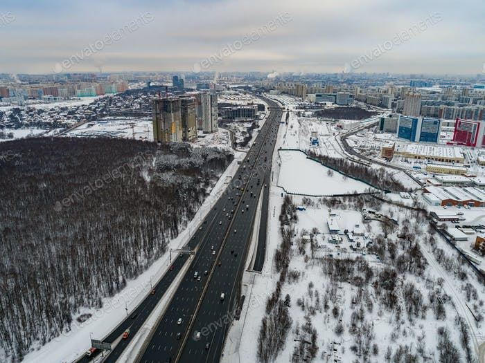 Moscow suburb. The view from the birds flight