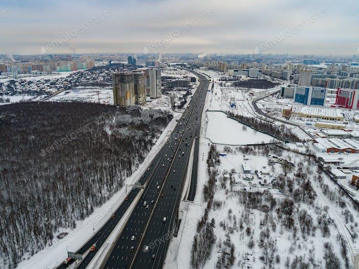 Moskauer Vorort. Der Blick vom Vogelflug