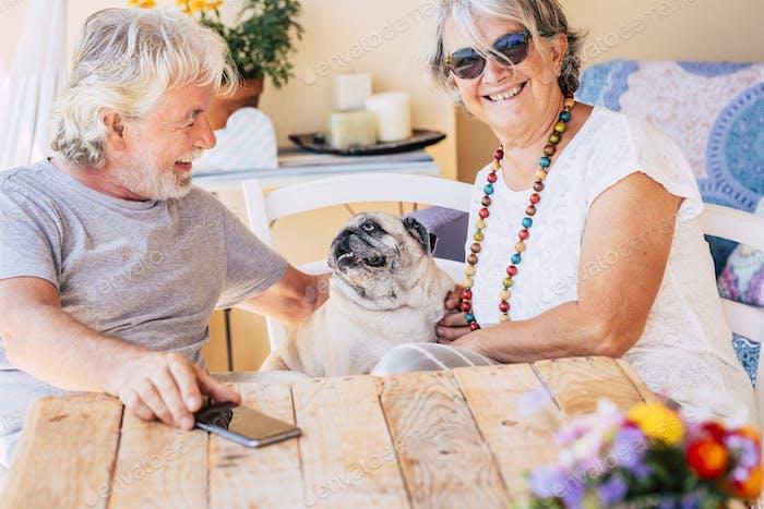 Happy caucasian old senior couple have fun