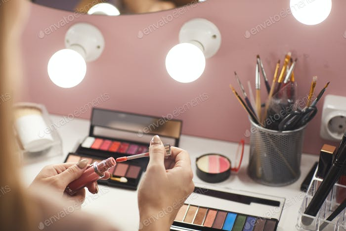 Vanity Table with Make Up Products Close Up