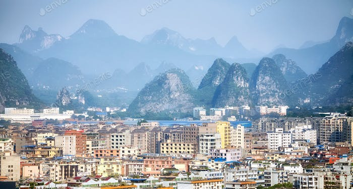 Guilin city aerial picture, Guangxi, China.