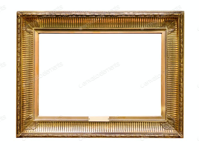 Gold decorative picture frame isolated on white