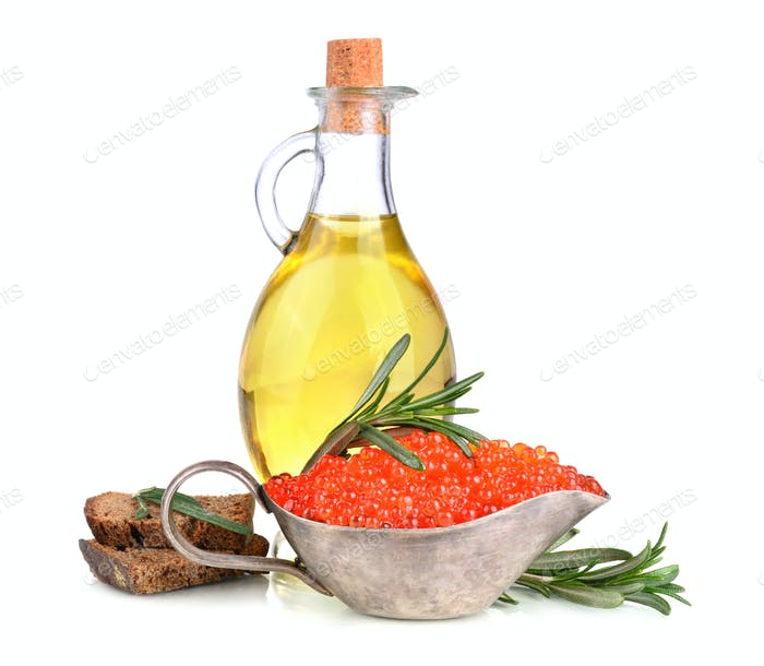 Olive oil and red caviar