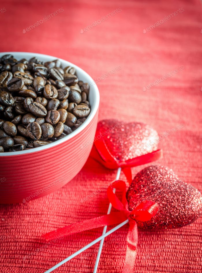 Coffee beans with two hearts